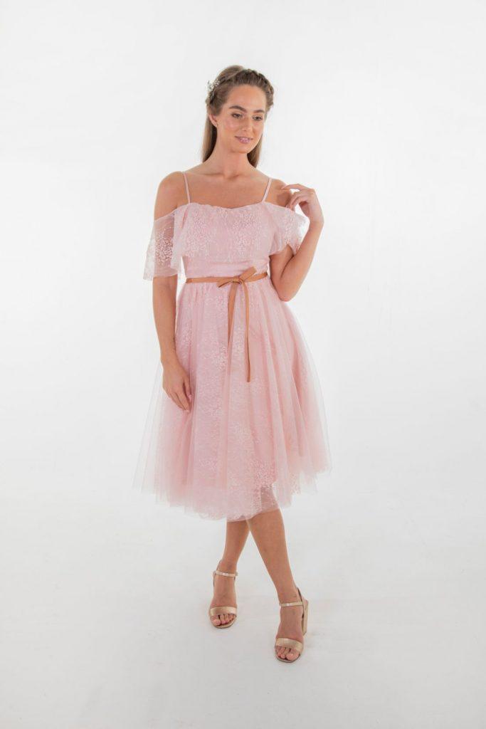 model in pink Hadley bridesmaids dress