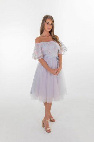model in paisley bridesmaids dress